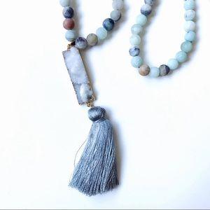 Amazonite & Druzy Bar Mala Bead Necklace w/ Tassel
